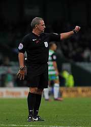 Referee Brendan Malone gives orders  - Mandatory by-line: Nizaam Jones/JMP - 29/10/2016/ - FOOTBALL - Hush Park - Yeovil, England - Yeovil Town v Grimsby Town - Sky Bet League Two