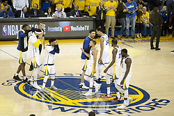 May 31, 2018 - Oakland, California, U.S - Members of the Golden State Warriors after winning their  NBA Championship Game 1 against the Cleveland Cavaliers  at Oracle Arena in Oakland, California on Thursday,  May 31,  2018. (Credit Image: © Prensa Internacional via ZUMA Wire)