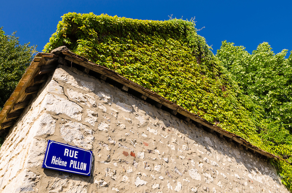 Street sign and ivy on stone wall, Giverny, Normandy, France
