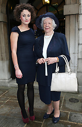 Lady Mavis Hunt, the widow of Sir Rex Hunt and their granddaughter Tamara Thurman outside St.Clement Danes church in London, after his memorial service Tuesday, 11th June 2013. Tamara gave a reading at the service for her grandfather who was the Governor of the Falkland Islands at the time of 1982 invasion by Argentina.  Picture by Stephen Lock / i-Images