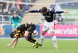 Alloa Athletic's Kevin Cawley and Falkirk's Mark Millar.<br /> Half time : Falkirk 1 v 1 Alloa Athletic, Scottish Championship game played today at The Falkirk Stadium.<br /> © Michael Schofield.
