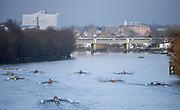 Chiswick. London. Saturday. 23.01.2016. Quintin Head. River Thames. Maidenhead Rowing Club Eight,  Crews Marshalling between Chiswick Bridge and Kew Rail Bridge, [Mandatory Credit: Peter Spurrier/Intersport-images.com]