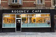 Exterior of Regency Café on on 7th October 2015 in London, United Kingdom. The popular café opened in 1946 on Regency Street, near Westminster London