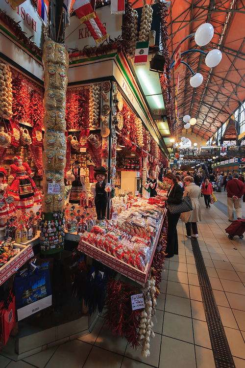 Central Market Hall in Budapest, Hungary. Even if the market hall is a famous tourist attraction, it is also a daily shopping place for locals who find here cuts of different meats, sausage (kolbász), fish and vegetables.