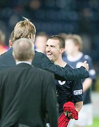 Steven Pressley, Falkirk manager cele at the end with Mark Miller..Falkirk 3 v 2 Rangers..©Pic : Michael Schofield.