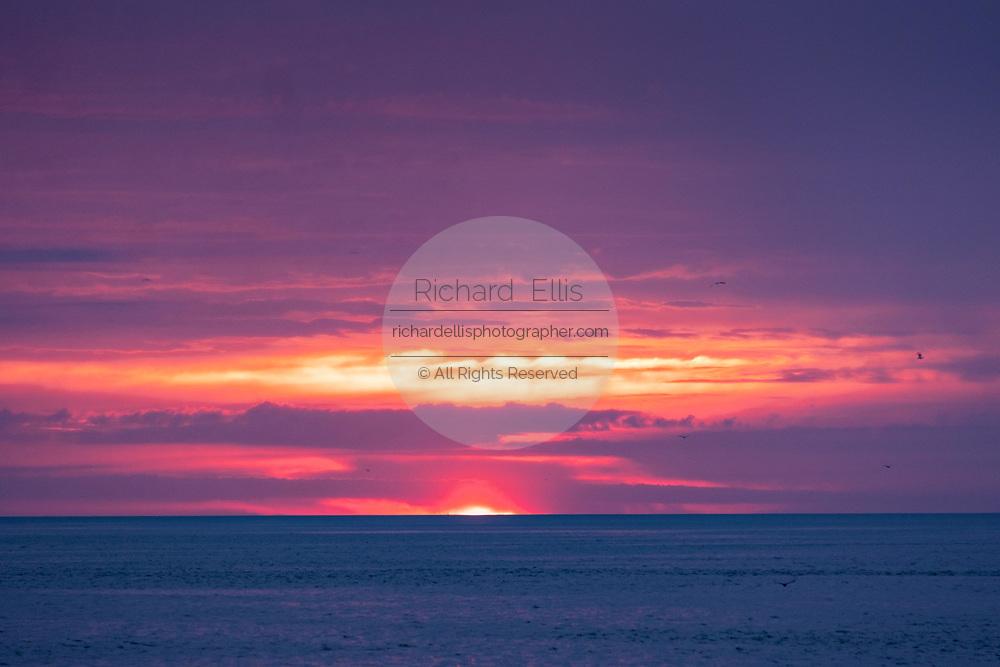 Sunrise over the Atlantic Ocean seen from Couper's Point along the Saint Simons Sound in St. Simons Island, Georgia.