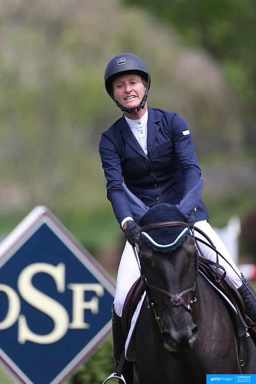 Molly Ashe riding Balous Day Date in action during the $35,000 Grand Prix of North Salem presented by Karina Brez Jewelry during the Old Salem Farm Spring Horse Show, North Salem, New York, USA. 15th May 2015. Photo Tim Clayton