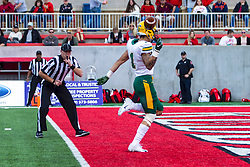 NORMAL, IL - October 05: Christian Watson finds a lane through the scrimmage line and exploits it for 6 points during a college football game between the ISU (Illinois State University) Redbirds and the North Dakota State Bison on October 05 2019 at Hancock Stadium in Normal, IL. (Photo by Alan Look)