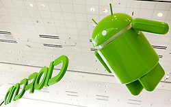Google Android signs on display during the Google I/O Developer Conference in San Francisco, California.