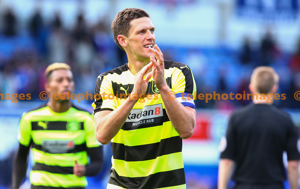 Mark Hudson of Huddersfield Town appluads the fans during the Sky Bet Championship match between Ipswich Town and Huddersfield Town at Portman Road in Ipswich. October 1, 2016.<br /> Arron Gent / Telephoto Images<br /> +44 7967 642437