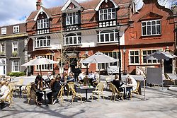 As England eases out of Coronavirus lockdown no 3, hospitality reopens for alfresco dining on 12 April 2021, Giggling Squid, Norwich UK