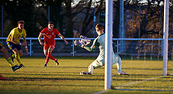 BANGOR, WALES - Saturday, November 17, 2018: Sweden's goalkeeper Samuel Brolin saves a shot from Wales' Joseph Adams during the UEFA Under-19 Championship 2019 Qualifying Group 4 match between Sweden and Wales at the Nantporth Stadium. (Pic by Paul Greenwood/Propaganda)