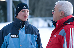 Anze Setina of Slovenia with his coach before he is going to compete during 1st Run of FIBT Bob & Skeleton World Cup Innsbruck-Igls race on January 23, 2009 in Igls, Innsbruck, Austria. (Photo by Vid Ponikvar / Sportida)