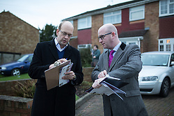 © Licensed to London News Pictures . 17/11/2014 . Kent , UK . UKIP candidate Mark Reckless (left) and UKIP deputy leader Paul Nuttall (right) canvassing votes in Strood in the Rochester and Strood by-election . They meet Fatima Macaulay (right) who says she's voting UKIP . Photo credit : Joel Goodman/LNP