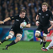 Richie McCaw, New Zealand, playing in his 100th test match in action during the New Zealand V France, Pool A match during the IRB Rugby World Cup tournament. Eden Park, Auckland, New Zealand, 24th September 2011. Photo Tim Clayton....