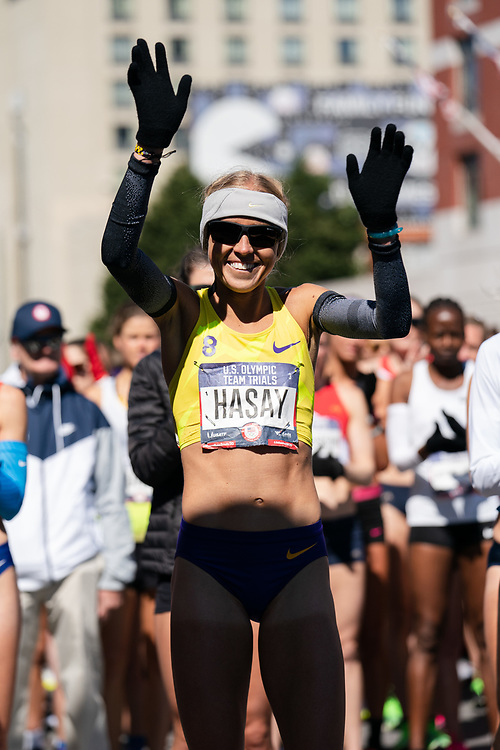 Jordan Hasay is introduced prior to the 2020 U.S. Olympic marathon trials in Atlanta on Saturday, Feb. 20, 2020. Photo by Kevin D. Liles for The New York Times