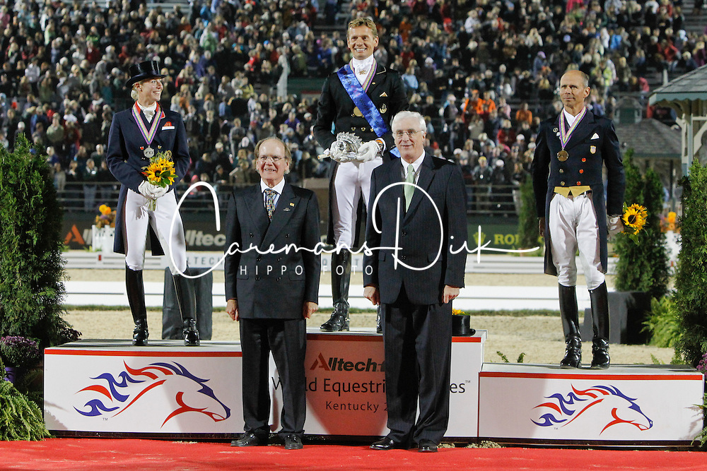 Dr. Pierce Lyons, President Alltech and Michael Collins, Irish ambassador to the  US presenting the trophy to Edward Gal (NED), second Laura Bechtolsheimer (GBR), Steffen Peters (USA)<br /> Alltech FEI World Equestrian Games <br /> Lexington - Kentucky 2010<br /> © Dirk Caremans
