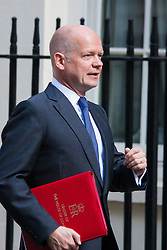London, July 22nd 2014. Leader of the House of Commons William Hague arrives at the cabinet meeting at Downing Street.