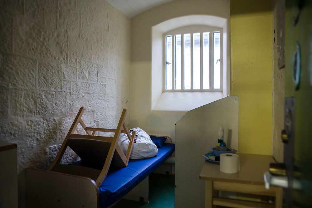 One of the first night in custody cells all cleaned and ready for new arrivals on Collingwood wing, the induction unit inside HMP/YOI Portland, a resettlement prison with a capacity for 530 prisoners.