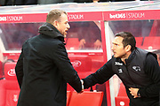 Stoke City Manager Gary Rowett and Derby County Manager Frank Lampard during the EFL Sky Bet Championship match between Stoke City and Derby County at the Bet365 Stadium, Stoke-on-Trent, England on 28 November 2018.
