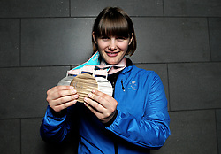 ParalympicsGB's Millie Knight poses with her Bronze and 2 Silver medals as the team arrive at Heathrow Airport, London, following the PyeongChang 2018 Winter Paralympics.