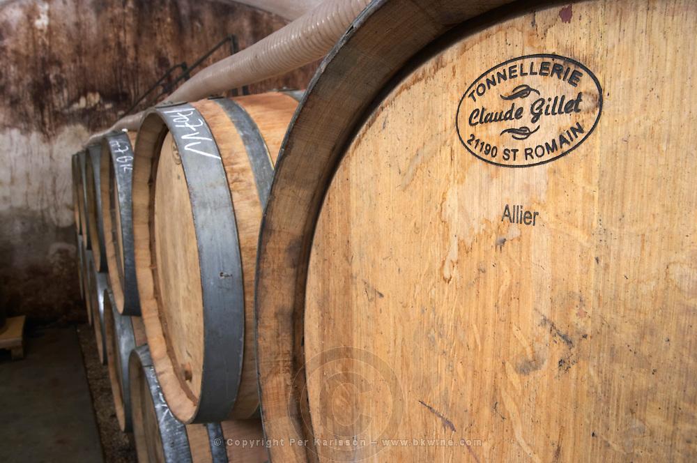 barrel with stamp claude gillet dom g amiot & f chassagne-montrachet cote de beaune burgundy france