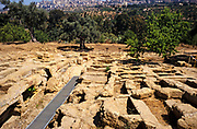 Roman cemetery at Greek ruins temple of Zeus, Akragas, Agrigento, Sicily, Italy in 1999