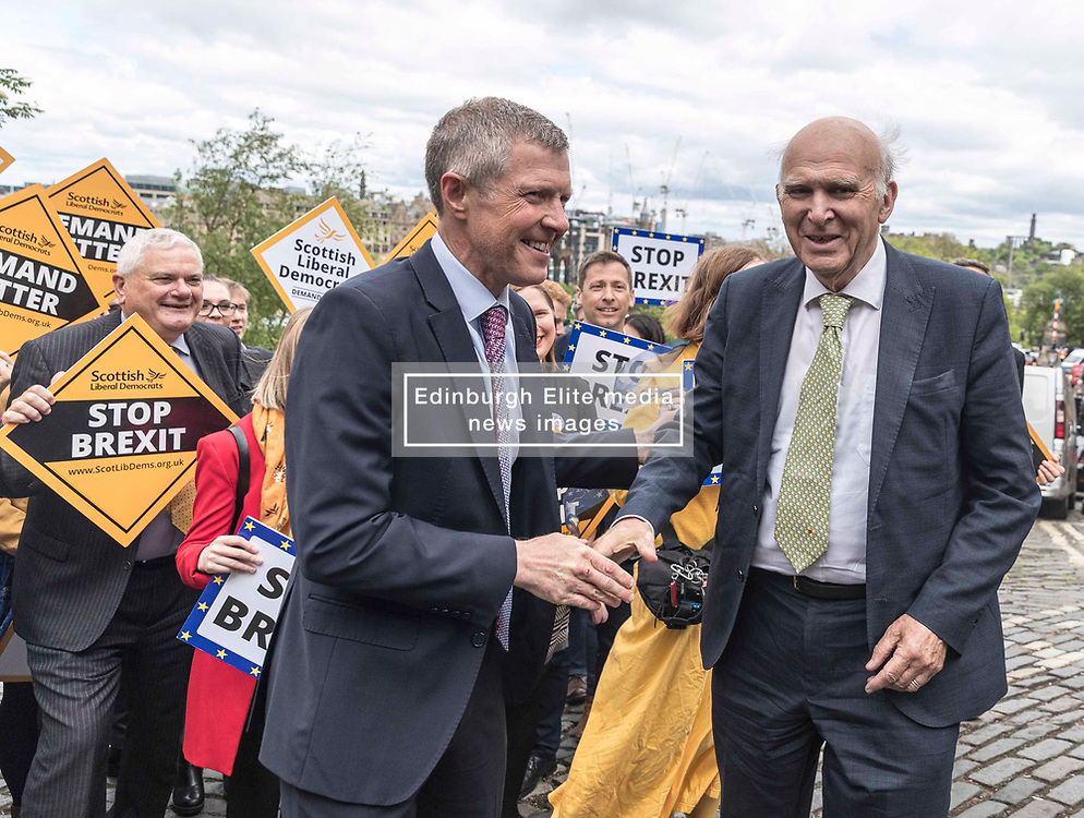 On the eve of the European elections Liberal Democrat Leader Vince Cable rallies activists and campaigners in Edinburgh. At the start of a day-long UK-wide tour Vince Cable states that Liberal Democrats are set to make gains, including in Scotland, as the strongest party of Remain in the UK.