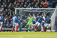 Portsmouth Midfielder, Tom Naylor (7) is able to clear a corner during the EFL Sky Bet League 1 match between Portsmouth and Rochdale at Fratton Park, Portsmouth, England on 13 April 2019.