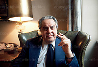 Albert Broccoli, known as 'Cubby', American film producer including many of the James Bond movies. He is seen here at Pinewood Studios in 1977. Photo by Terry Fincher.