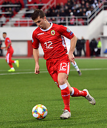 Gibraltar's Jayce Olivero during the UEFA Euro 2020 Qualifying, Group D match at the Victoria Stadium, Gibraltar.
