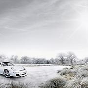 A white Porsche on a frozen pond set against a wintery landscape.