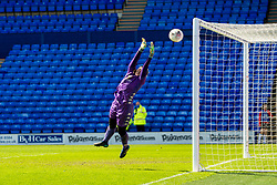 BIRKENHEAD, ENGLAND - Easter Sunday, April 4, 2021: Lewes' goalkeeper Tatiana Saunders makes a save during the FA Women's Championship game between Liverpool FC Women and Lewes FC Women at Prenton Park. (Pic by David Rawcliffe/Propaganda)