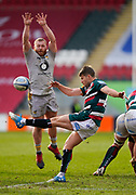 Wasps Prop Tom West attempts to charge down a clearance kick from Leicester Tigers scrum-half Richard Wigglesworth during a Gallagher Premiership Round 10 Rugby Union match, Friday, Feb. 20, 2021, in Leicester, United Kingdom. (Steve Flynn/Image of Sport)