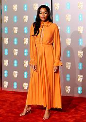 Laura Harrier attending the 72nd British Academy Film Awards held at the Royal Albert Hall, Kensington Gore, Kensington, London.