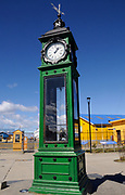 Meteorological clock at the entrance to the harbour in Punta Arenas. The clock shows time, humidity, barometric pressure and wind direction. Punta Arenas, Chile. 15Feb13