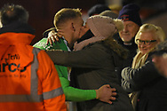 AFC Wimbledon goalkeeper Aaron Ramsdale (35) gets a kiss after the win during the EFL Sky Bet League 1 match between Walsall and AFC Wimbledon at the Banks's Stadium, Walsall, England on 12 February 2019.