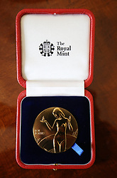 The Queen's Gold Medal for Poetry rests in its box before being presented by Queen Elizabeth II to Simon Armitage upon his appointment as Poet Laureate during an audience at Buckingham Palace, London.