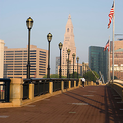 Hartford, Connecticut, as seen from the Founder's Bridge over the Connecticut River.