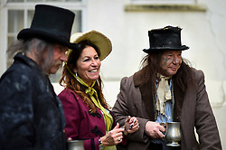 © Licensed to London News Pictures. 23/02/2020. LONDON, UK.  People in period costume attend an event marking the 200th anniversary of the Cato Street Conspiracy in Marylebone.  On 23 February 1820, 13 plotters were foiled by Bow Street Runners (police of the day) in their attempt to overthrow the government by assassinating Prime Minister Lord Liverpool and his Cabinet ministers.  Photo credit: Stephen Chung/LNP