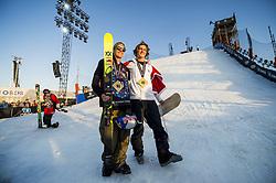 May 19, 2018 - Fornebu, NORWAY - 180519 Øystein Braaten of Norway and Birk Ruud of Norway celebrate after the men's big air ski finals during X Games Norway on May 19, 2018 in Oslo. .Photo: Vegard Wivestad Grøtt / BILDBYRÃ…N / kod VG / 170170 (Credit Image: © Vegard Wivestad GrØTt/Bildbyran via ZUMA Press)