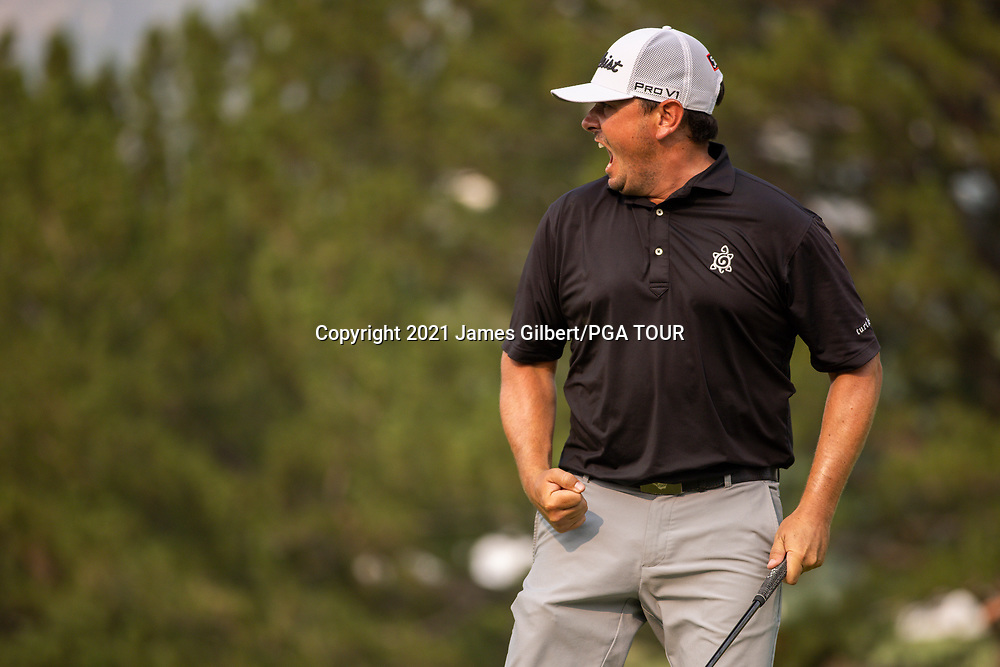FARMINGTON, UT - AUGUST 08: Joshua Creel reacts after sinking his putt on the 18th green during the final round of the Utah Championship presented by Zions Bank at Oakridge Country Club on August 8, 2021 in Farmington, Utah. (Photo by James Gilbert/PGA TOUR via Getty Images)