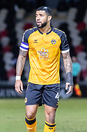 Newport County's Captain Joss Labadie (4) in action during the EFL Sky Bet League 2 match between Newport County and Salford City at Rodney Parade, Newport, Wales on 16 January 2021.