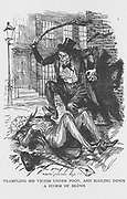 Robert Louis Stevenson 'The Strange Case of Dr Jekyll and Mr Hyde' first published 1886. Mr Hyde clubbing Sir Danvers Carew to death 'with ape-like fury' observed by a maidservant at full moon. Illustration by Edmund J Sullivan  from an edition published 1928.