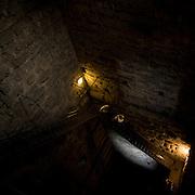 La scala all'interno della torre del castello visconteo di Trezzo..Stairs inside the tower castle in Trezzo