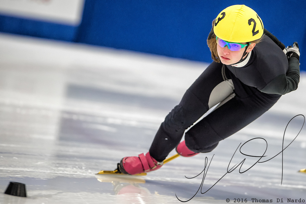 March 18, 2016 - Verona, WI - Anna Quinn, skater number 213 competes in US Speedskating Short Track Age Group Nationals and AmCup Final held at the Verona Ice Arena.