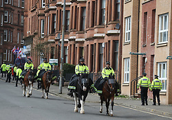 Police outside Hampden Park before the William Hill Scottish Cup semi final match at Hampden Park, Glasgow.