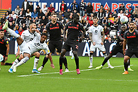 Football - 2019 / 2020 Sky Bet (EFL) Championship - Swansea City vs. Stoke City<br /> <br /> Wayne Routledge of Swansea City shoots at goalwith a bicycle kick , at the Liberty Stadium.<br /> <br /> COLORSPORT/WINSTON BYNORTH