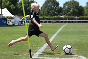 Kids play on the pitch during half time in the Handa Premiership football match, Hawke's Bay v Wellington, Bluewater Stadium, Napier, Sunday, February 03, 2019. Copyright photo: Kerry Marshall / www.photosport.nz