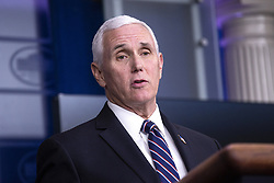 United States Vice President Mike Pence delivers remarks on the Coronavirus pandemic during a news conference in the James S. Brady Press Briefing room at the White House in Washington D.C., U.S., on Sunday April 19, 2020. Speaker of the United States House of Representatives Nancy Pelosi (Democrat of California) stated that lawmakers are close to a deal with United States Secretary of the Treasury Steven T. Mnuchin regarding a second round of small business loans for businesses impacted by Coronavirus. Credit: Stefani Reynolds / CNP